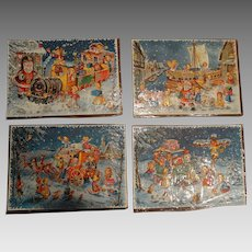 Mid Century 4 Unused Diecuts Countdown to Christmas Die cut Charming Santa Scenics