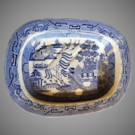 Meat Platter Staffordshire Old Willow Blue  Transferware Circa 1820 Massive