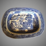 Platter Staffordshire Old Willow Blue Transferware Circa 1830-1850 Massive