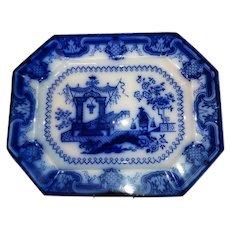 "English Staffordshire Flow Blue Large Platter  ""Oregon Pattern"" Circa 1850-1860"
