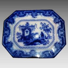 "English Staffordshire Flow Blue Large Platter  ""Oregon Pattern"" Circa 1850-1860"