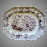 Early 19th Century Spode Staffordshire Violet Transferware Platter Aesops Fables Early 19th Century
