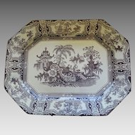 Brown Transferware Staffordshire Platter Adams Kyber Med/Large