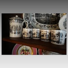 Circa !820 Black Transferware Chocolate Tea Set Teapot Mugs Rare