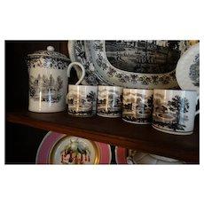 Circa !820 Black Transferware Chocolate Tea Set Teapot Mugs Rare