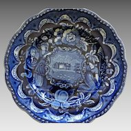 """Historical American Patriotic Staffordshire Plate """"America and Independence"""" Clews C 1820"""