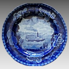 Historical American Patriotic Staffordshire Plate Chief Justice Marshall Steamboat Hudson River