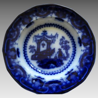 "English Staffordshire Flow Blue Deep Soup Bowl  ""Oregon Pattern"" Circa 1850-1860"