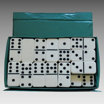 Vintage Double Nine Domino Set Original Case