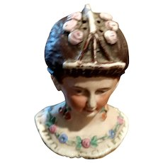 Antique Bisque Porcelain Lady Bust Hatpin Holder