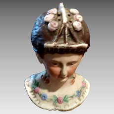 Antique Bisque Porcelain Lady Bust Hatpin Holder