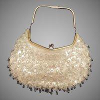 Vintage Crystal Beaded Sequin Spangle Silk Evening Purse