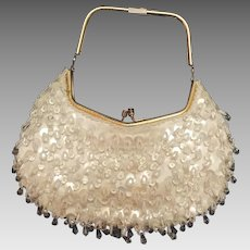 Vintage Crystal Beaded Sequin Spangle Silk Evening Purse