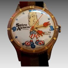 Wrist Watch Authentic Spiro Agnew Caricature  Novelty Collector Watch