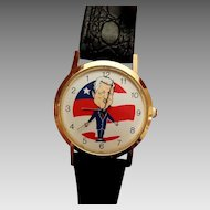 Vintage President Bill Clinton Novelty Backwards Wrist Watch