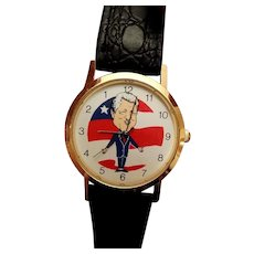 Vintage President Bill Clinton Novelty Backwards Wrist Watch
