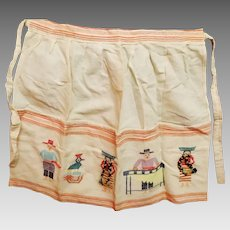Mid Century Huck Embroidery Apron Classic!