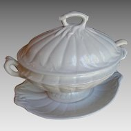 Large 4 Piece Antique White Ironstone Tureen Under Plate Cover Ladle