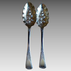 Antique Sterling Berry Spoons Georgian London England 1824 William Chawner