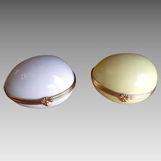 Pair Limoges Antique Jewelry Box Trinket Box Eggs