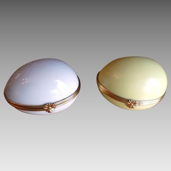 Pair Limoges Antique Jewelry Box Trinket Box Eggs