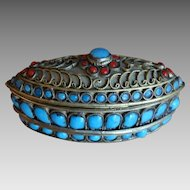Persian Jeweled Trinket Box Bronze Turquoise Coral Antique