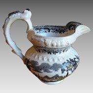 Staffordshire Black Transferware Rococo Milk Jug Creamer 1800-1820 Antique