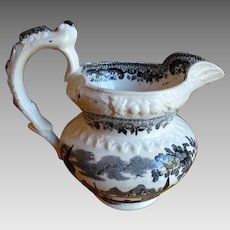 Staffordshire Black Transferware Rococo Milk Jug Creamer 1800-1820 Antique
