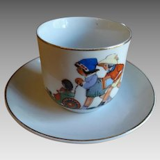 Nursery Child Cup and Saucer Germany 1891-1914