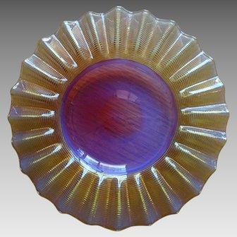 Amberina Threaded Art Glass Boston Sandwich Glass 1870 - 1880