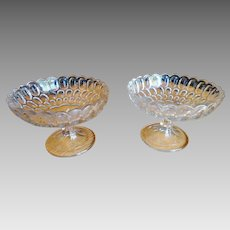 Pair Boston Sandwich Glass Compotes Early Three Part Molds Pressed Glass