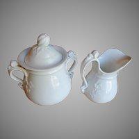 Fine White Porcelain Rococo Sugar & Creamer Bridgwood & Son Early-Mid 19th Century