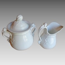 Fine White Porcelain Rococo Sugar & Creamer Bridgwood & Son Early-Mid 19th Century