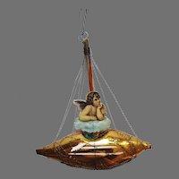 Victorian German Ornament 1870-1890 Wire Blown Glass Boat w Die Cut