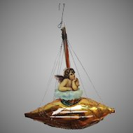 Victorian German Ornament 1870-1890 Wire Blown Glass Boat w Die Cut