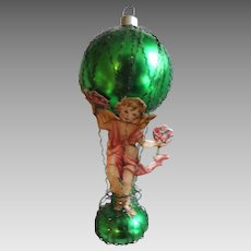 Victorian Ornament German Hot Air Balloon Wire Blown Glass Die Cut