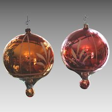 2 Victorian German Ornament Antique Blown Glass Ornaments