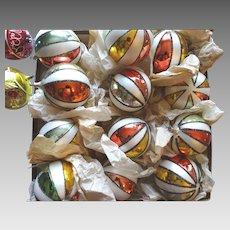 Rare Set of 12 Antique German Hand Blown Art Glass Christmas Ornaments