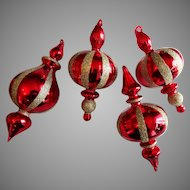 4 Vintage Hand Blown Ruby Art Glass Christmas Ornaments