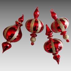 4 Vintage Hand Blown Ruby Art Glass Christmas Ornaments