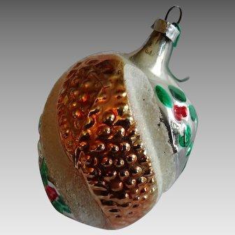 Victorian German Hand Blown Art Glass Christmas Ornament Fruit Strawberry Swirl