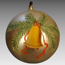 Handpainted 1890-1910 Blown Glass Christmas Ball Big 5""