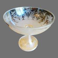 Antique Blown Glass Compote Centerpiece Copper Wheel Engraved