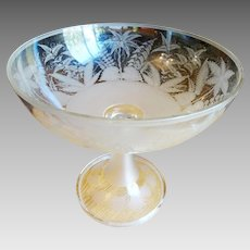 Antique Blown Glass Compote Centerpiece Copper Wheel Engraved