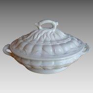 Antique White Ironstone Large Covered Casserole Dish C1860s