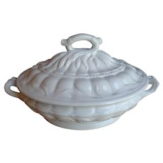 Antique White Ironstone Large Covered Casserole Dish C1860s