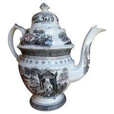 1800-1820 Scarce Staffordshire Black Transferware Coffee Pot