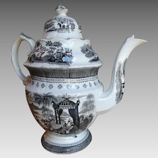 1800-1820 Scarce Staffordshire Black Transferware Coffee Pot
