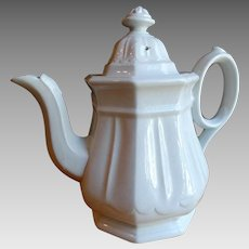 Wedgwood White Ironstone Staffordshire Coffee Pot 1860s