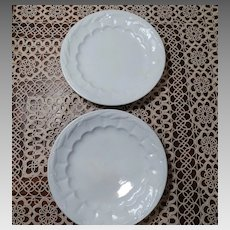 2 White Ironstone Wheat Pattern Dinner Plates C1844